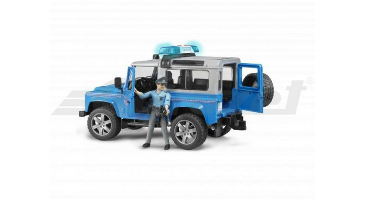 Policejní Land Rover Defender + policista a maják Bruder 02597