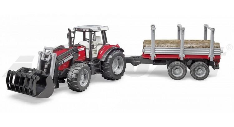 Traktor Massey Ferguson 7480 s nakladačem a přívěsem na dřevo Bruder 02046