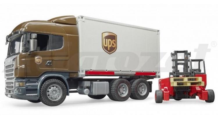 Scania R UPS s vysokozdvižným vozíkem Bruder 03581