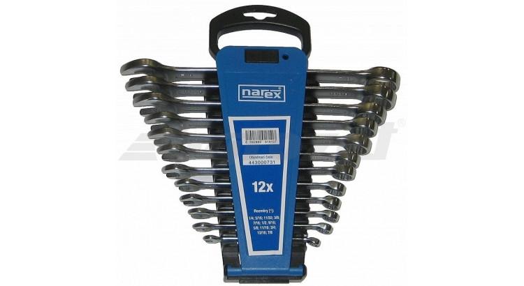 Narex 443000731 Sada klíčů 12dílná palcových očkoplochých plast. držák