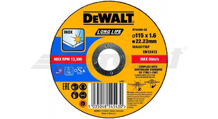 DeWALT DT43905 Řezný kotouč na nerezovou ocel 115X1,6X22,2