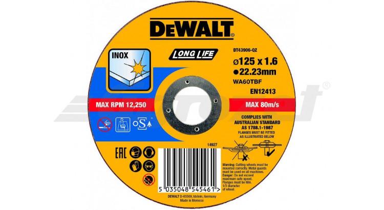 DeWALT DT43906 Řezný kotouč na nerezovou ocel 125X1,6X22,2