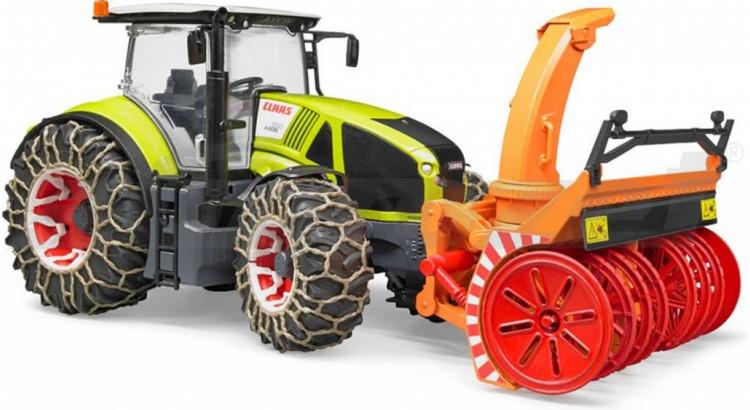 Traktor Claas Axion 950 se sněhovými řetězy a frézou Bruder 03017