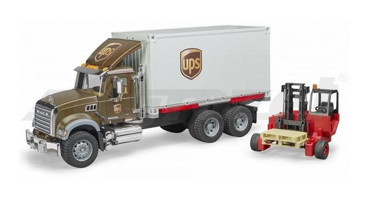 MACK Granite UPS s vysokozdvižným vozíkem Bruder 02828
