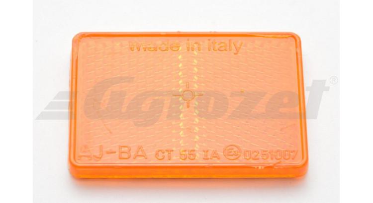 Odrazka obdelníková oranžová samolepící ( 57 mm x 39 mm)