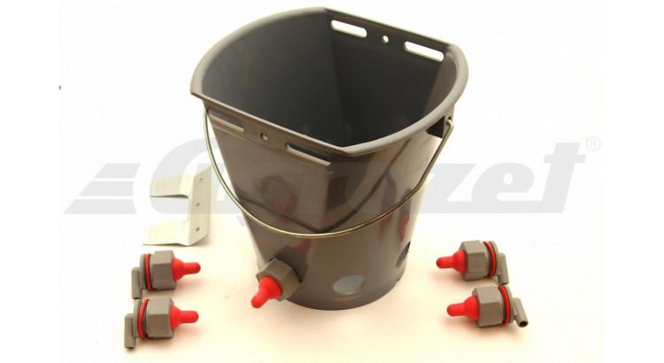 Kyblík napájecí pro jehňata s 5 krátkými červenými dudlíky vč. kuličkový ventil