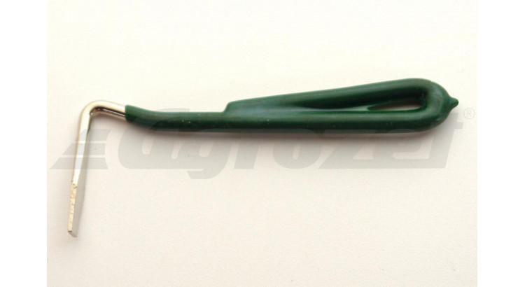 Háček na kopyta s plastovou rukojetí zelený