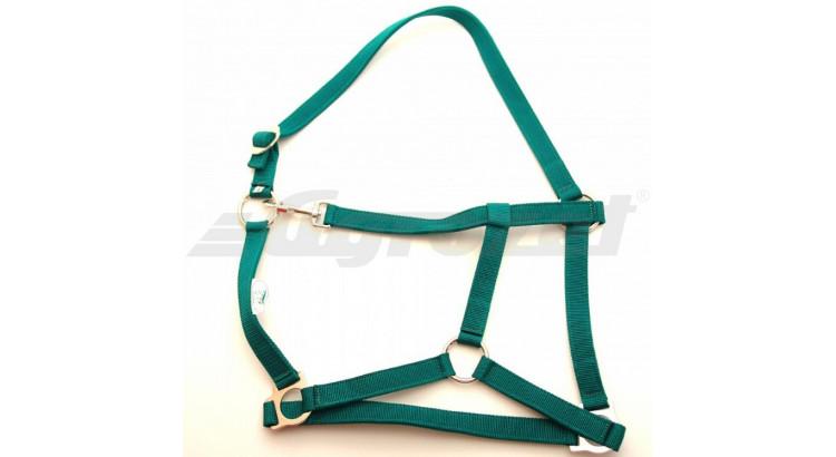 Ohlávka nylonová CLASSIC pro hříbata s popruhy zelená vel. 2