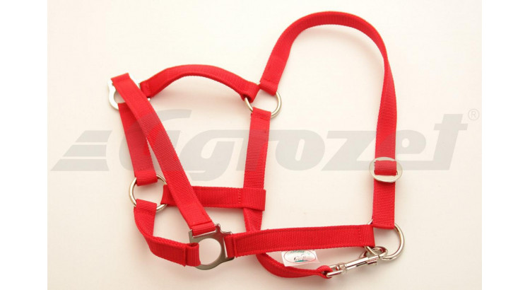 Ohlávka nylonová CLASSIC pro hříbata s popruhy červená vel. 2