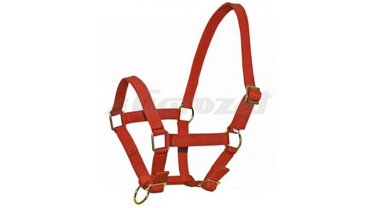 Ohlávka nylonová CLASSIC pro hříbata s popruhy červená vel. 3