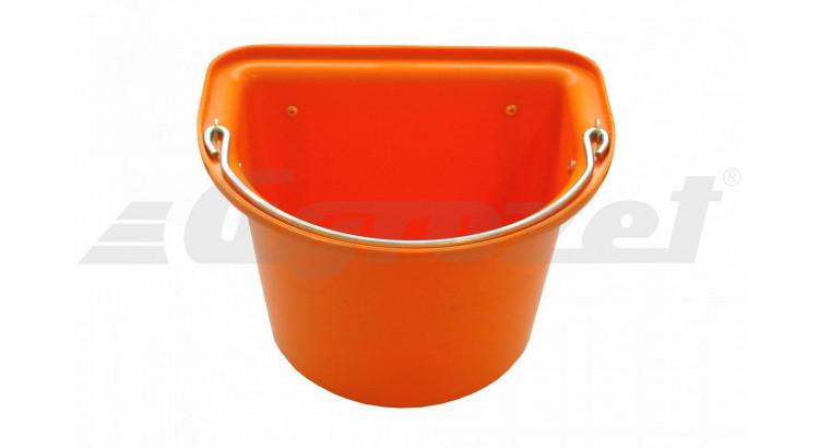 Vědro stájové s kovovým držadlem 12 l oranžové