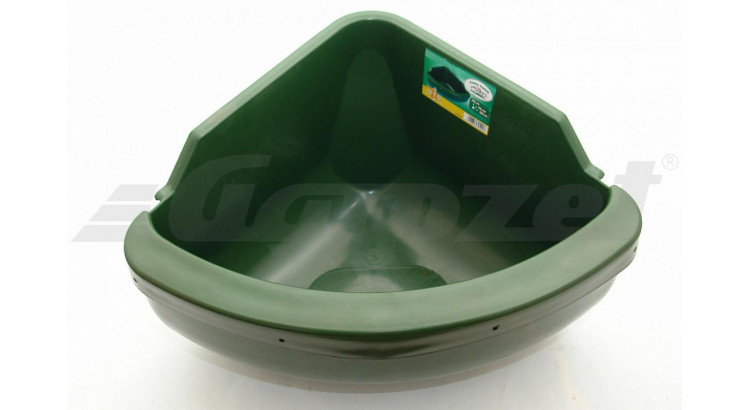 EUROFARM 3259 Plastový žlab pro koně rohový zelený 31 l  bez hrany proti okusu