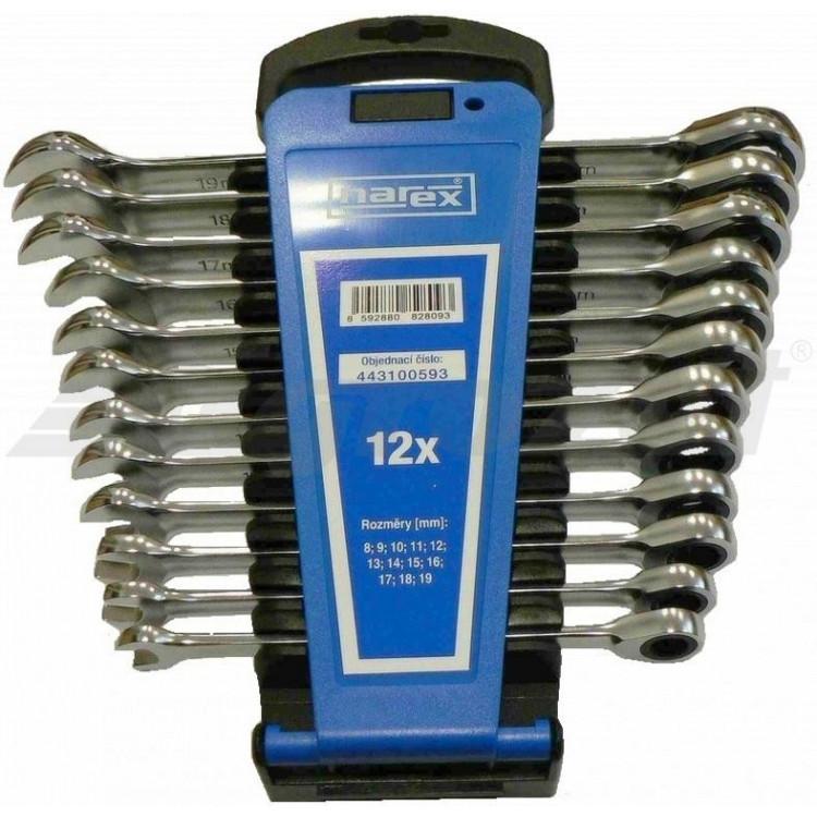 NAREX 443100593 Sada klíčů 12dílná ráčnových plast. držák DIN3113