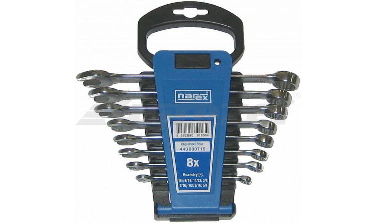 NAREX 443000719 Sada klíčů 8dílná palcových očkoplochých plast. držák 3113.608