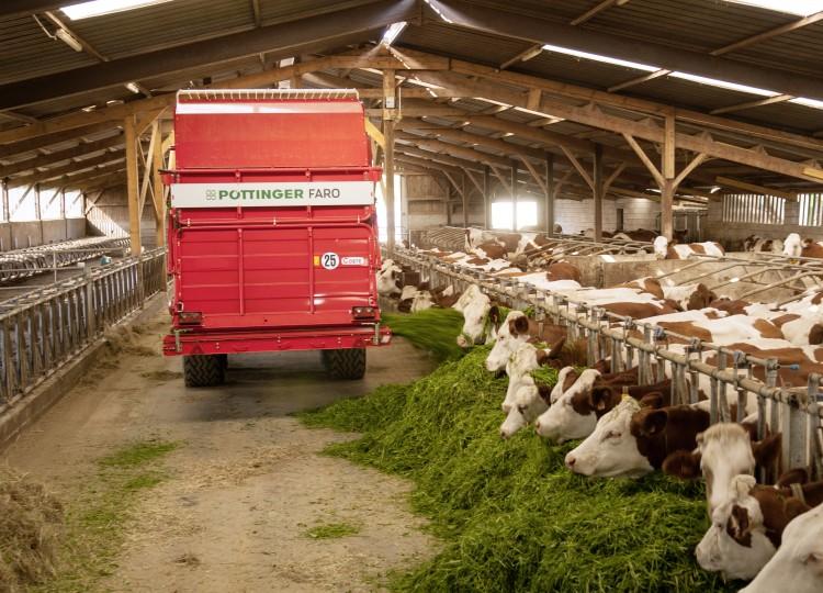 Výroba krmiva s využitím strojů Pöttinger.